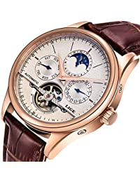 Luxury Men's Automatic Self-Wind Watch with Brown Leather Band