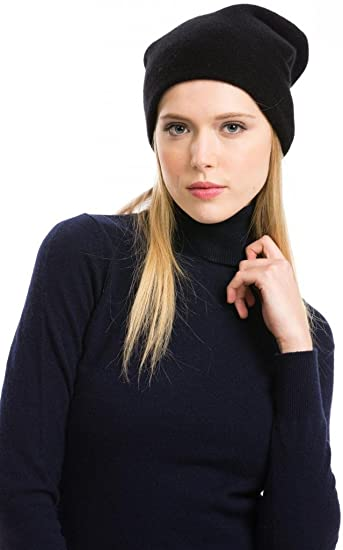 a435f39fc98f8 Slouchy Beanie - 100% Cashmere - By Citizen Cashmere (Black 45 303-02-09)   Amazon.co.uk  Clothing