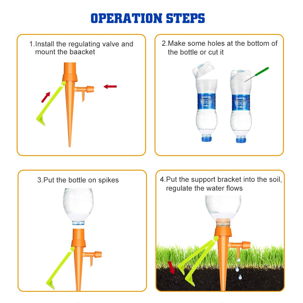 Plant Self Watering Spikes Automatic Drip Plant Watering Devices Bulbs Globes Stakes Irrigation System with Slow Release Control Valve Switch for Potted Plants 6 Pack Plant Waterer