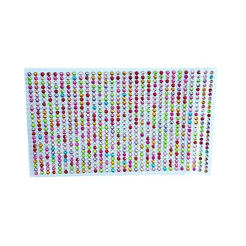 Accessoire Scrapbooking - 750 strass de 3 mm multicoloris autocollant - Tissu- couture