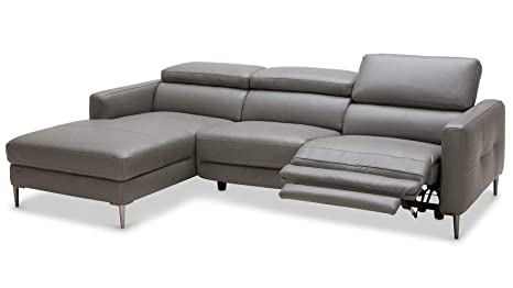 Amazon.com: Zuri Furniture Modern Grey Leather Reno ...