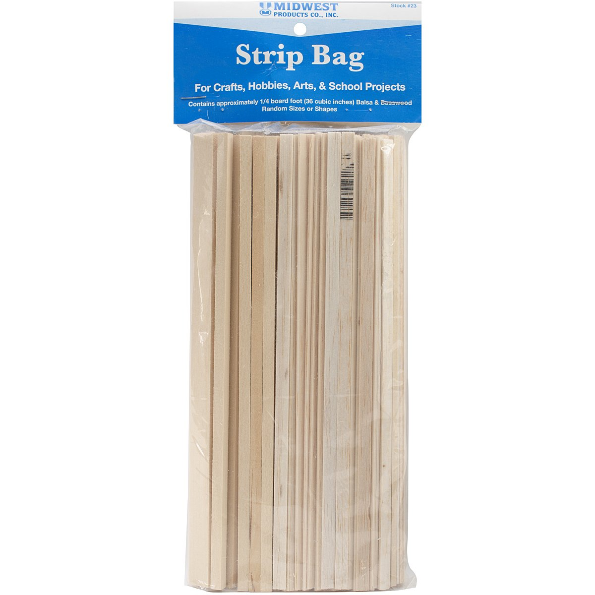 Midwest Products Project Woods Balsa & Basswood Strip Economy Bag 23