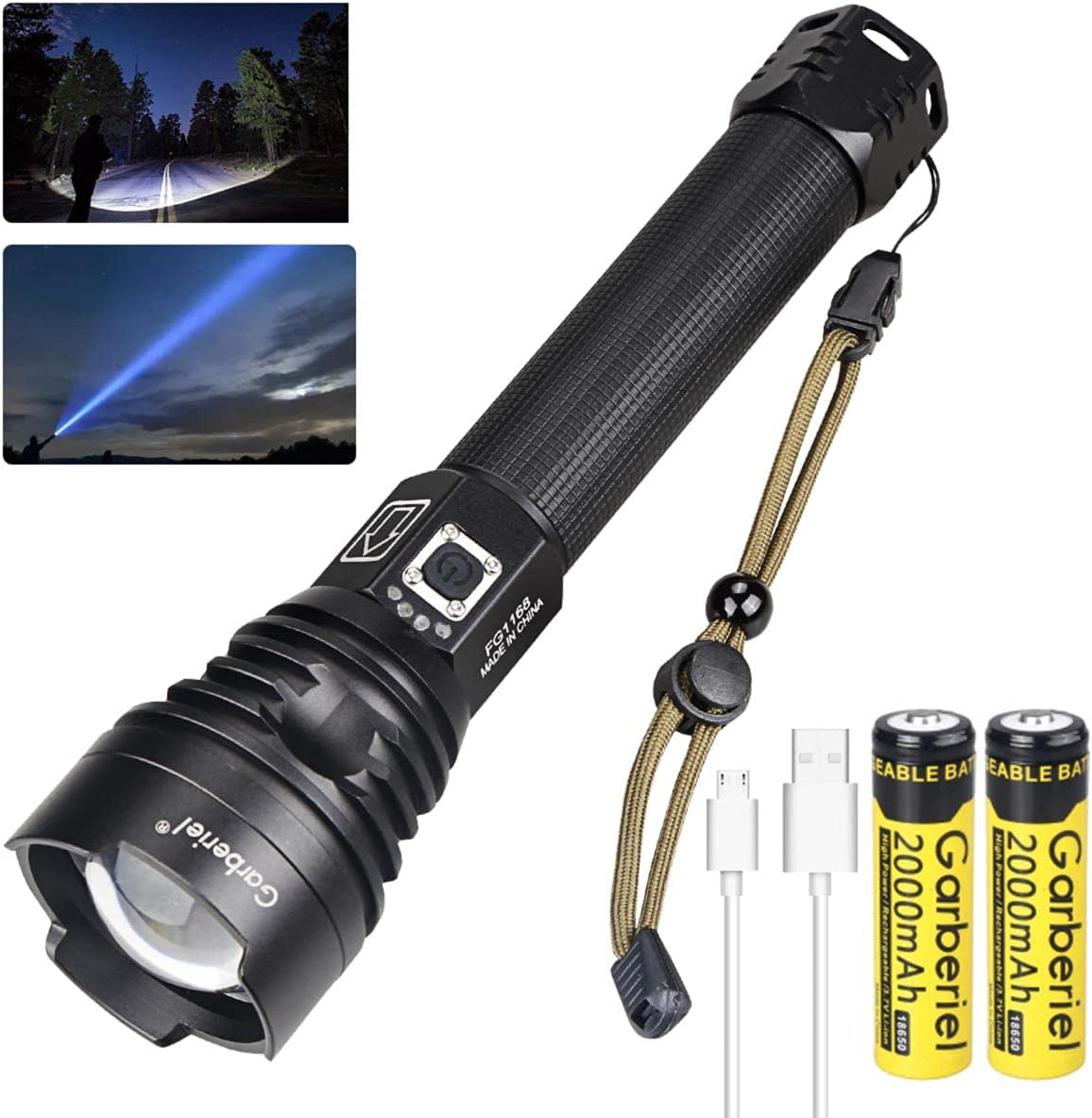 COB LED Flashlight USB Rechargeable Zoomable Tactical Torch USA Details about  /350000LM XHP90