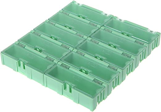 LLAni Mini SMD SMT Electronic Box IC Electronic Components Storage Case 75x31.5x21.5mm Negro caja de almacenaje