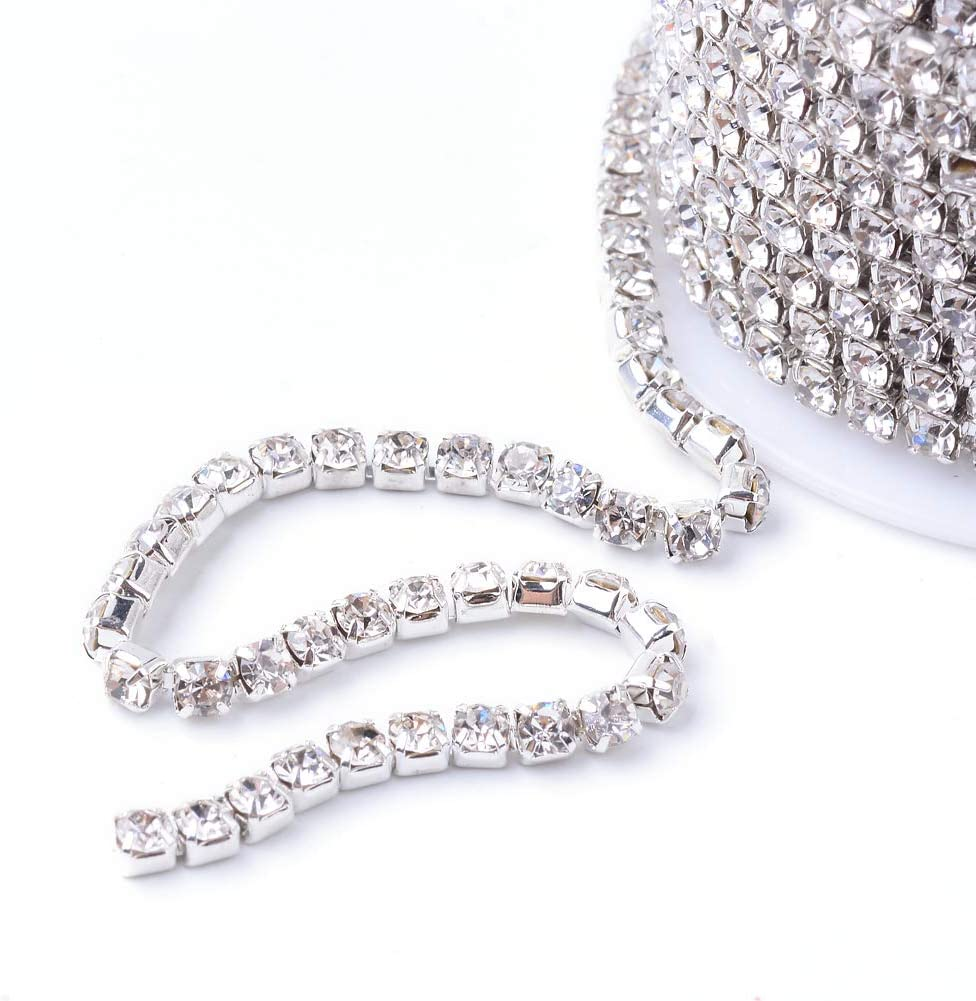Vase Cake Clothing Veil PH PandaHall 1 Roll 10 Yard 2mm Crystal Light Red Rhinestone Close Chain Clear Trimming Claw Chain Silver Cup Bead Chain Craft and Decoration Chains for Jewelry Sewing