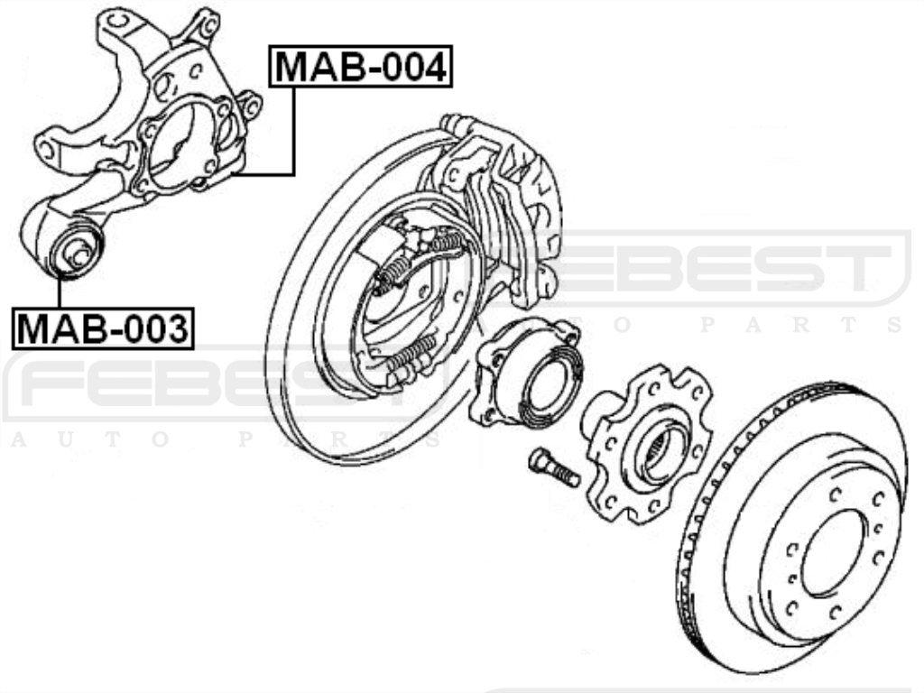FEBEST MAB-003 Rear Arm Bushing Assembly