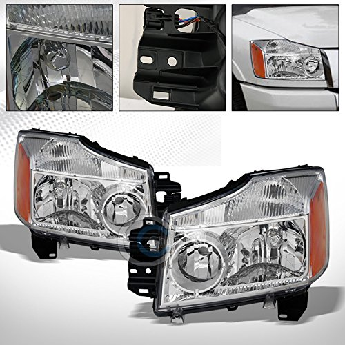 S&T Racing Chrome Crystal Head Lights Corner Signal Lamp A Nb for 2004-2015 Nissan Titan/Armada