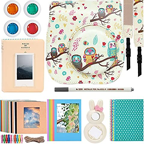 Katia 8 Piece of Instax Mini 8 Accessories for Fujifilm Instax Mini 8/8+/9 Instant Film Camera with Camera Case/ Album/ Selfie Len/ Frames/ Stickers and More - (White)