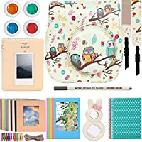Katia Camera Accessories for Fujifilm Instax Mini 9 or Mini 8 Instant Film Camera- 8 in 1 Bundle. Fuji Case with Strap, Photo Album, Frame, Selfie Len, Filters, Stickes & more(Cocoa Owl).