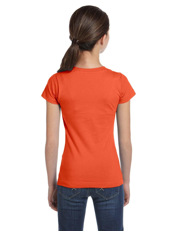 LAT Sportswear Girl's Fine Jersey Longer-Length T-Shirt, Mandarin, Large