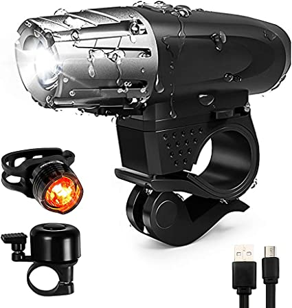Super Bright USB Bike Bicycle Light Rechargeable Headlight /& 5LED Taillight Set