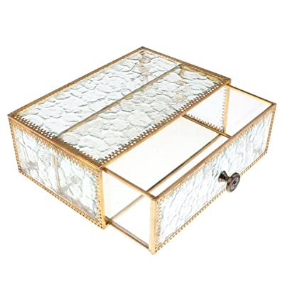 MagiDeal Vintage Style Metal Glass Makeup Jewelry Cosmetic Organizer Clear  Jewelry Display Storage Drawer for Jewelry