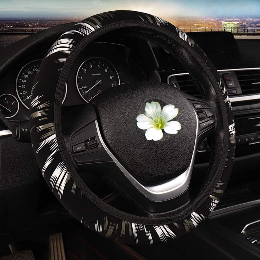 Universal 15 inch Breathable LABBYWAY Elastic Style Steering Wheel Cover,Used for Winter Keep Warm Anti Slip