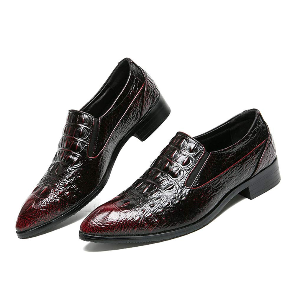 JIALUN-Scarpe Moda Uomo Coccodrillo Texture PU Leather Dress Scarpe Scarpe Scarpe Oxford Slip on Modern Business Penny Loafer cf0015