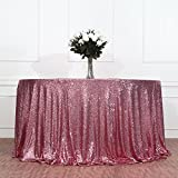 3e Home 96'' Round Sequin TableCloth for Wedding Party Cake Table, Fuchsia Pink