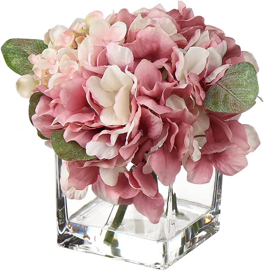 Faux Flowers in Glass Vase Fake Hydrangea Flower Decorations for Farmhouse Decor Wedding Home Kitchen Decoration-Pink Flowers Pink Decor