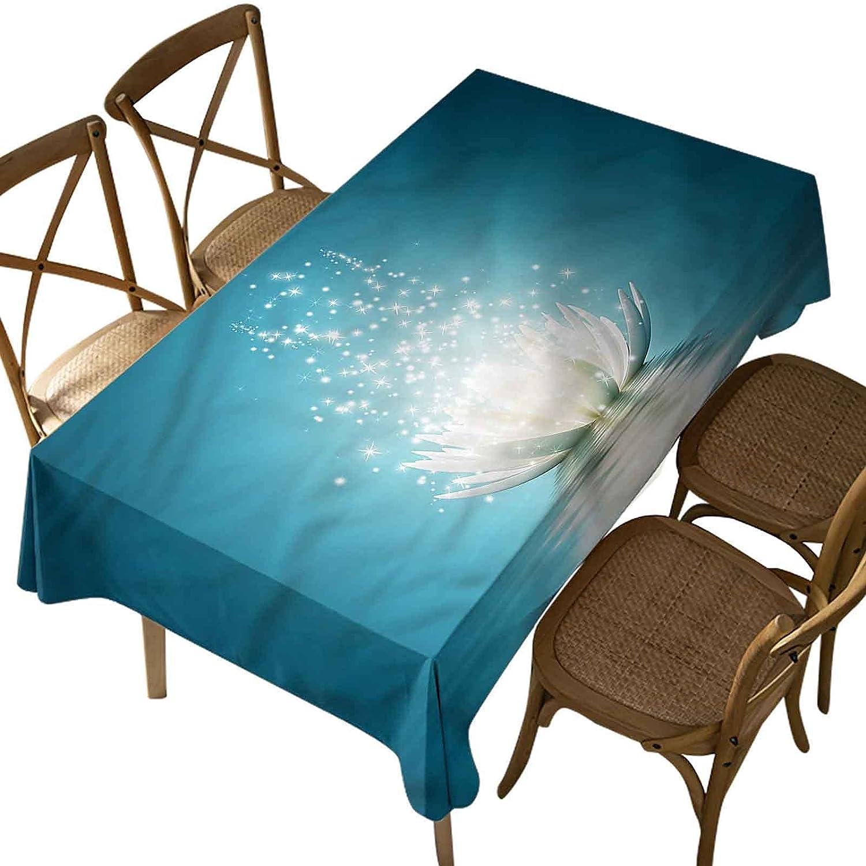 Rectangular Polyester Tablecloth,Lotus,Zen Life Spiritual Meditation,Indoor Outdoor Spillproof Tablecloth Table Cover,for Spring Summer Patio Garden Tabletop Decor Oblong 60 x 120 Inch