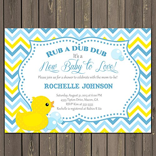 Amazon Com Rubber Duck Baby Shower Invitation Duck Blue And Yellow
