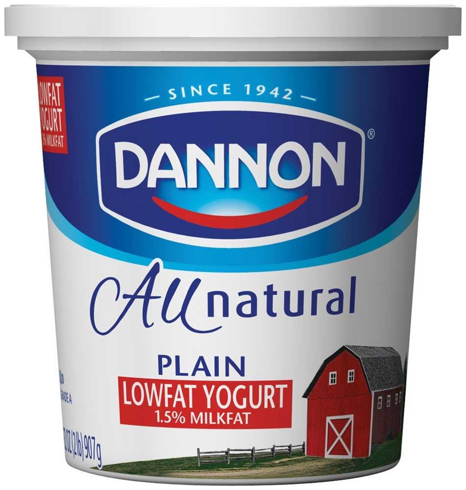 Dannon All Natural Quart Plain Lowfat Yogurt, 32 Ounce -- 6 per case.
