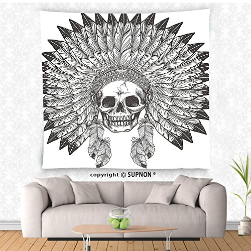Apache Tapestry - VROSELV custom tapestry Native American Tapestry Ethnic Theme Apache Skull with Indian Feather Headdress Illustration Wall Hanging for Bedroom Living Room Dorm Black and White