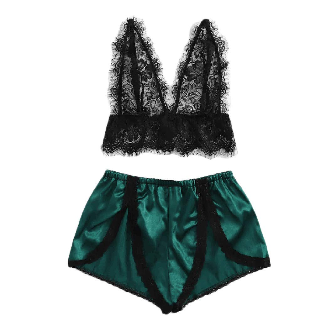 Wugeshangmao Sexy Lingerie for Women Fashion Ladies Satin Floral Lace Lingerie Set Pajamas Babydoll Honeymoon Sleepwear
