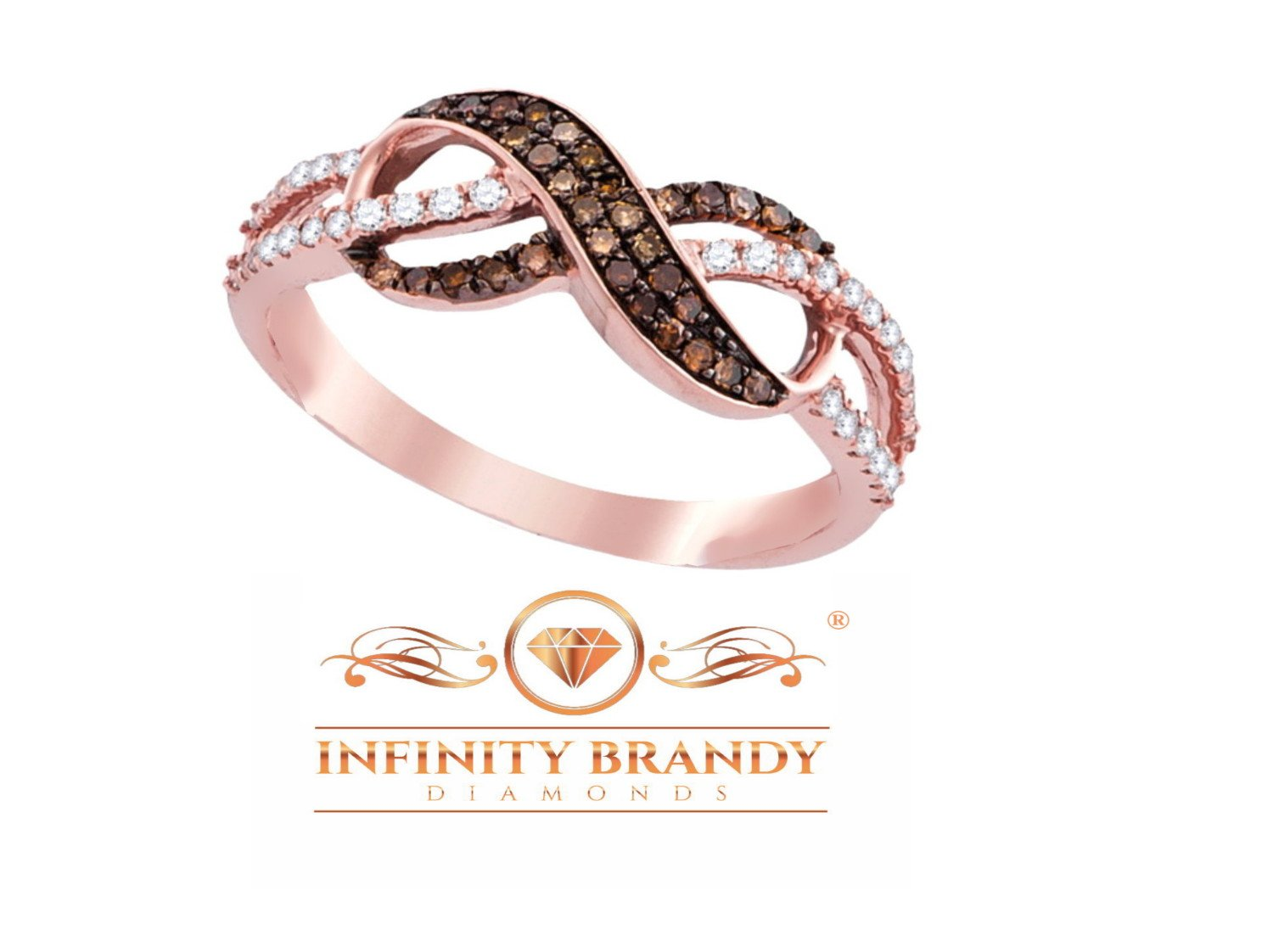 Infinity Brandy Diamonds Chocolate Brown 14k Rose Gold Beautiful Lovely Ring 1/3 Ctw. by Infinity Brandy Diamonds