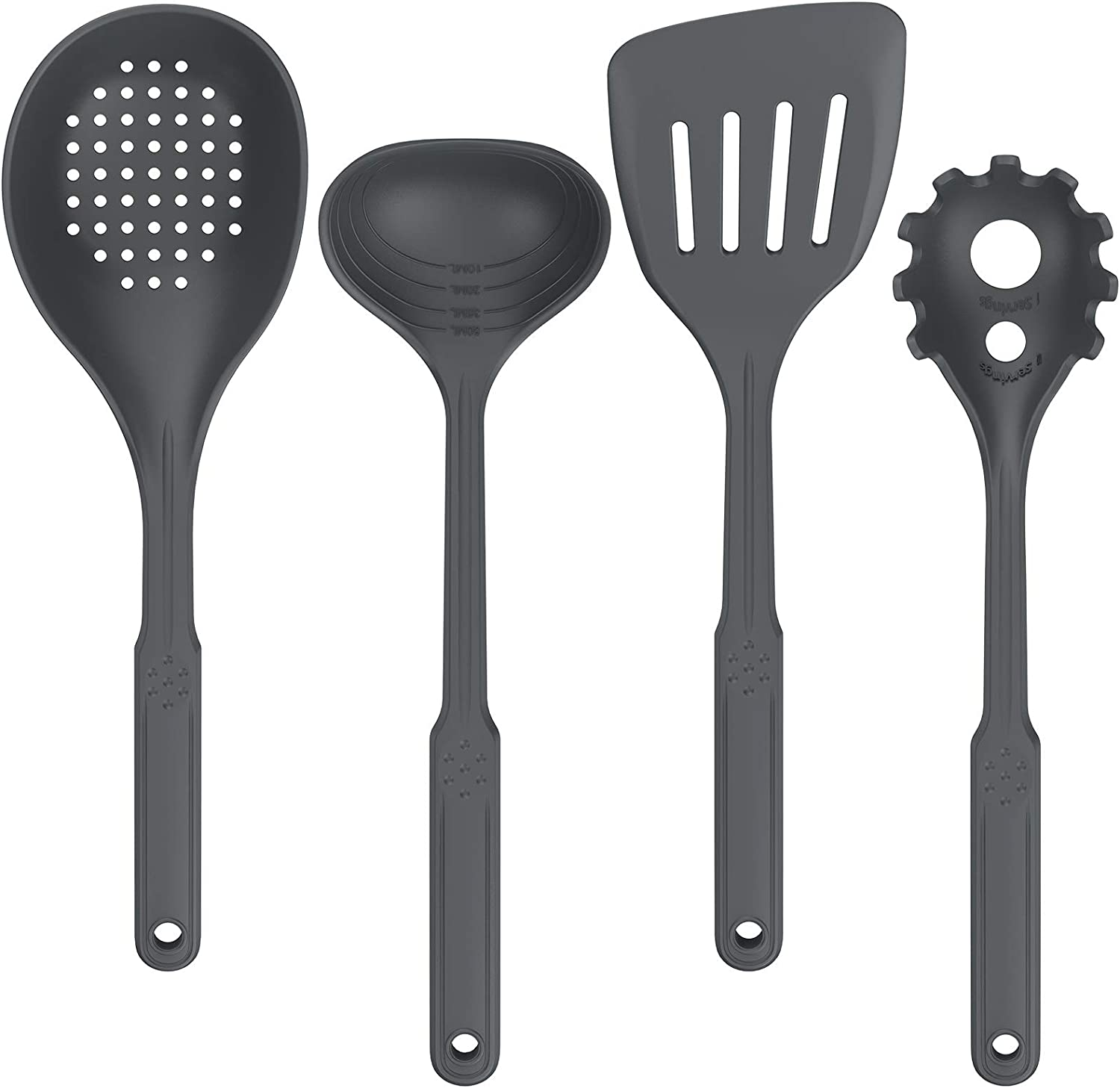 4 Pcs Nonstick Premium Flexible Silicone Cooking Utensils Set with Turner Ladle Skimmer Spoon Pasta Server Uarter Silicone Kitchen Utensil Set Grey Cookware High Heat Resistant for Cooking