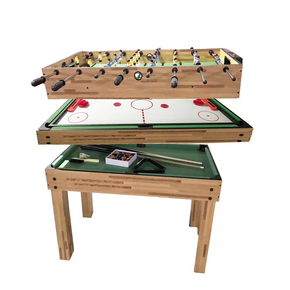 haxTON 1 Set of Popular Game Tables 3 in 1 Multi-Use Game Table Compact Combination Game Tables Mini Game Tables Foosball Table Air Hockey Table Pool Table Mini Table for Children Adult (3 in 1) by haxTON