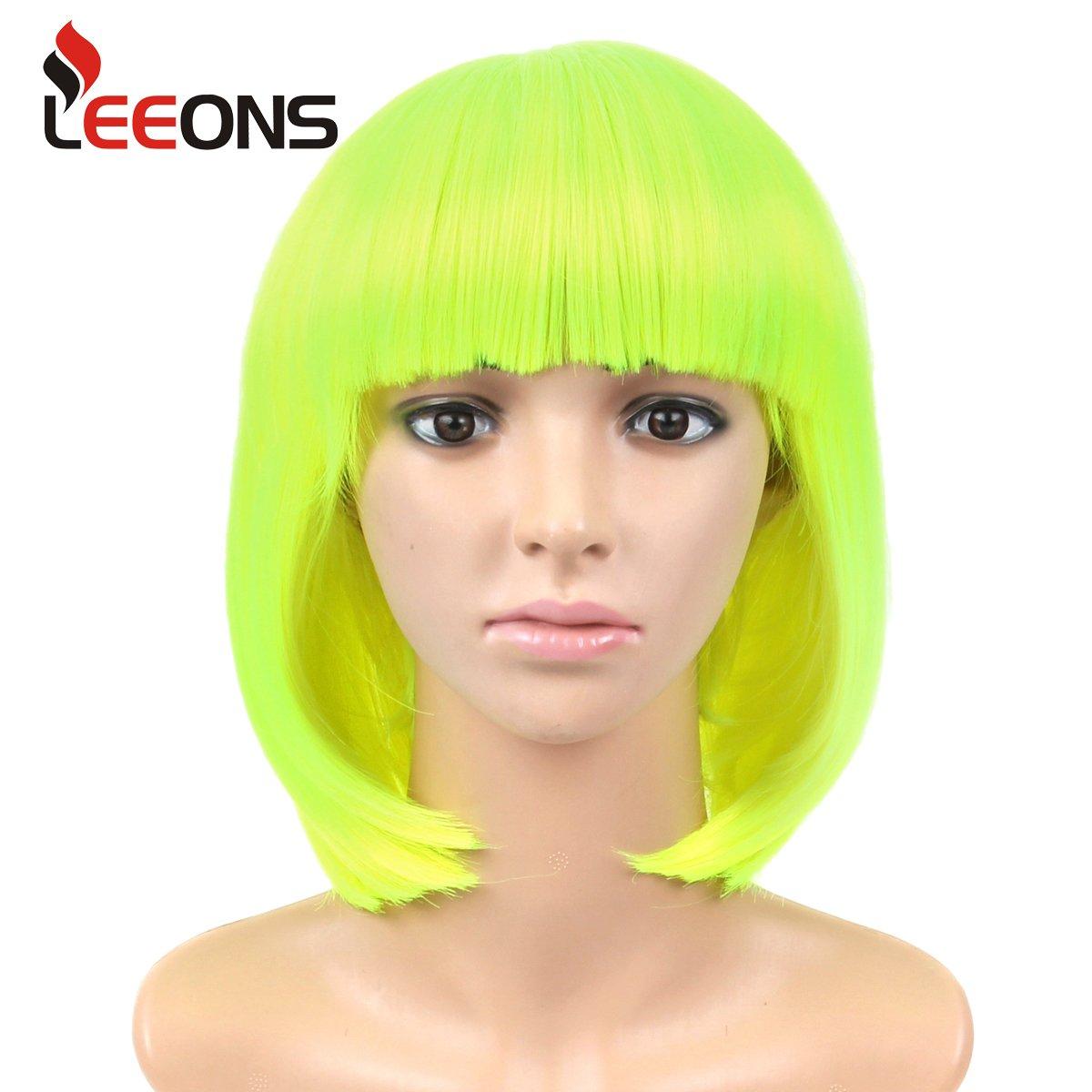 LEEONS 12'' Neon Green Short Straight Bob Hair Full Wigs Cosplay Party Anime Kanekalon Synthetic Fiber Natural Looking Wigs