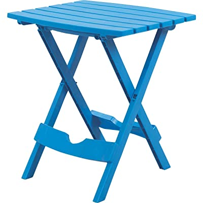 "Adams Quik Fold Side Table 19.75"" H X 15.25"" W X 17.375"" D Pool Blue 25 Lb. Capacity : Folding Patio Tables : Garden & Outdoor"