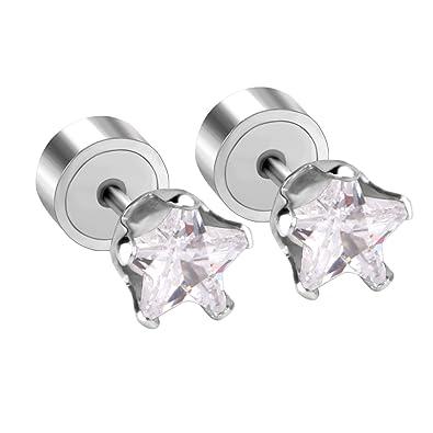 d2e88dea6 LUXU kisskids 3MM Charm Star Shape Shiny Crystal Stainless Steel Helix  Cartilage Lobe Stud Earring for Women/Girls: Amazon.co.uk: Jewellery