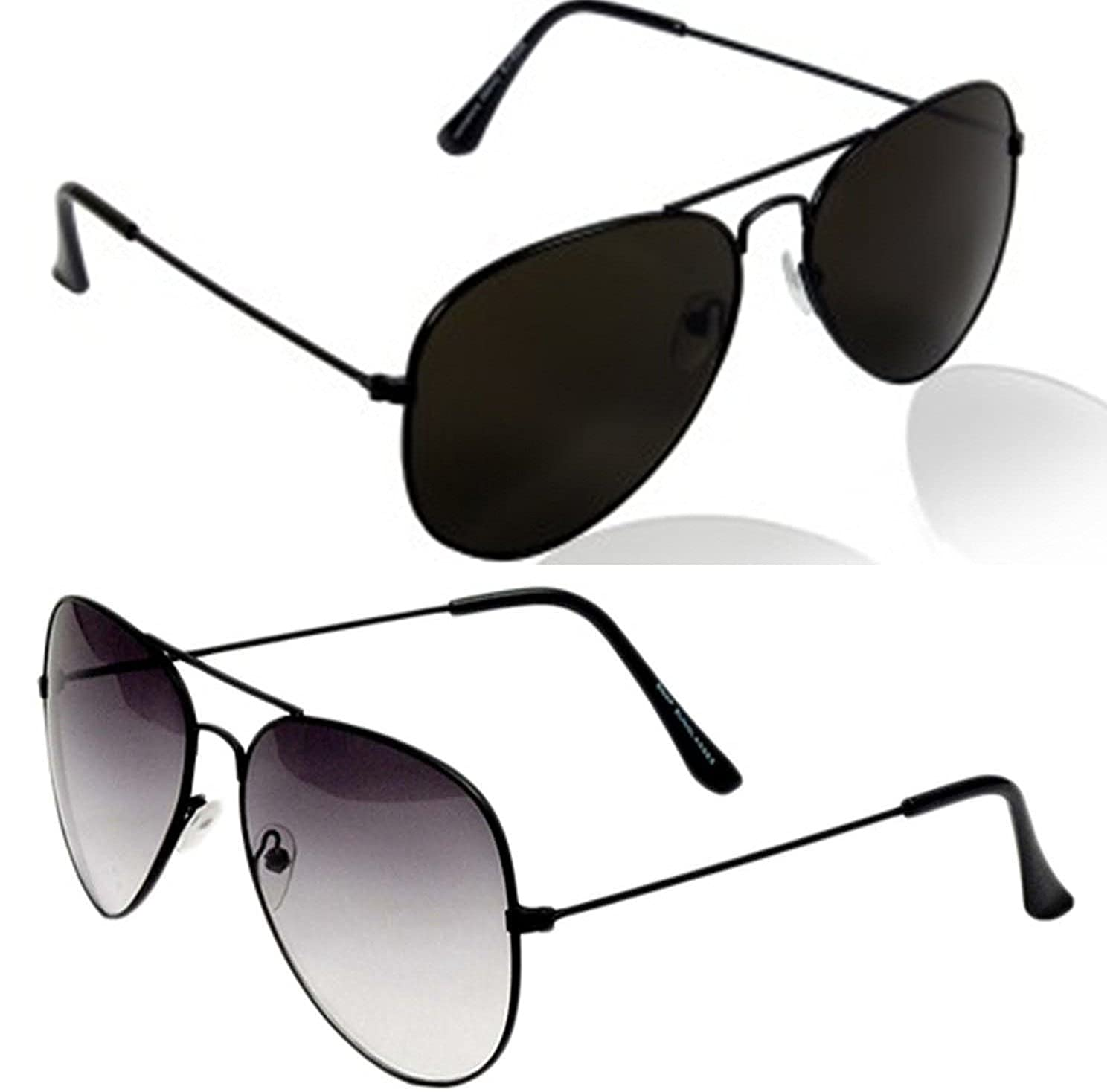 Younky Unisex Combo Offer Pack of UV Protected Aviator Stylish Mercury Sunglasses For Men Women Boys & Girls (BB-BSBlk|55|Black) - 2 Sunglass Case
