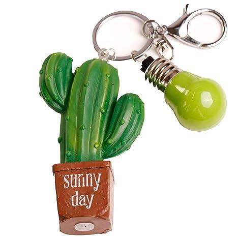 Hacoly Simulación suculenta Cactus pera Espinosa Llavero ...