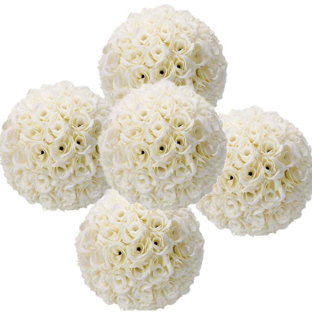 Ivory Flower Ball: 5 Pack 9.84 Inch Ivory Satin Flower Ball For Bridal