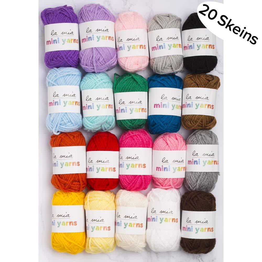 Lamia 20 Skein Premium Acrylic Mini Yarn, Total 7.05 Oz Each 0.35 Oz (10g), Fine, Sport Assorted Colors Yarn 4336926675