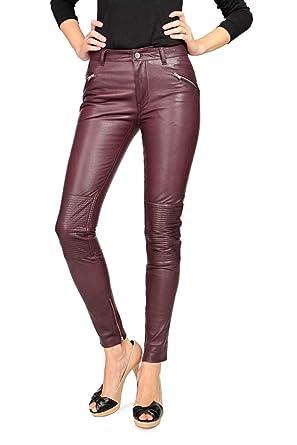 a28d34eda BLK DNM Pantalons Pantalon en Cuir - Femme, Couleur: Bordeaux ...