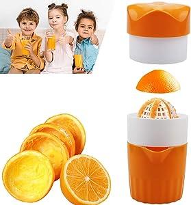 Hand Juicer Citrus Orange Squeezer Manual Hand Juicer with Strainer and Container, Lemon Orange Hand Squeezer, Citrus Color