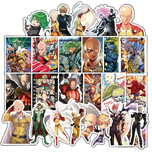 Decal Man - ONE Punch-Man Anime Cartoon Laptop Stickers Waterproof Skateboard Pad MacBook Car Snowboard Bicycle Luggage Decor (38pcs)