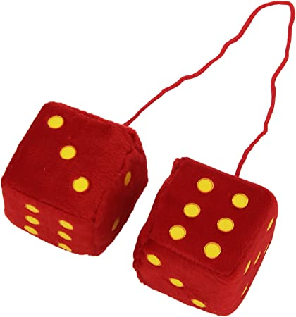 Yellow ODN Hanging Couple Fuzzy Plush Dice with Dots For Car Interior Ornament Decoration
