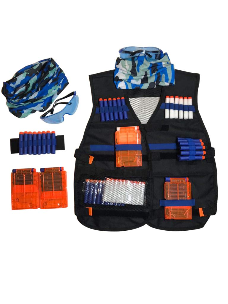 WillNick Tactical Vest Kit for Nerf Guns N-Strike Elite Series. Kids Military Winter Vest Holds Lots of Extra Ammo, Short Reload Clips, Wrist Band, Tactical Glasses with Mask, 20 Quality Darts.
