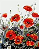 Adult Paint by Number Kits, Komidea DIY Paint by Number for Adults with Brush Canvas, Great Gift and Home Decor, Dancing Flower 16x20inch