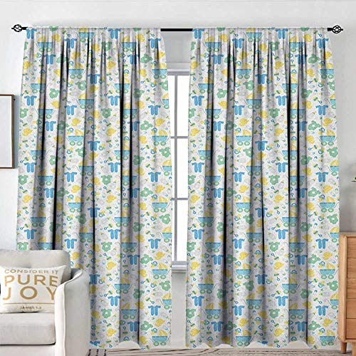 NUOMANAN Print Pattern Curtains Baby,Retro Newborn Items Stroller Rubber Duck Milk Bottle Pin Pyjamas Pattern, Blue Yellow Mint Green,for Room Darkening Panels for Living Room, Bedroom 100