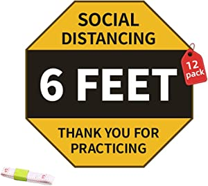 6 Feet Social Distancing Floor Stickers Decals (12 Pcs) Waterproof Security Signs for Office, Restaurant, Bank, Hospital, School (Yellow)