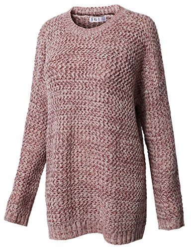Patterned Knit Sweater (H2H Womens Comfort Solid Long Sleeve Crew Neck Twist Patterned Knitted Sweater TAWNYPORT US L/Asia L (KWOSWL038))