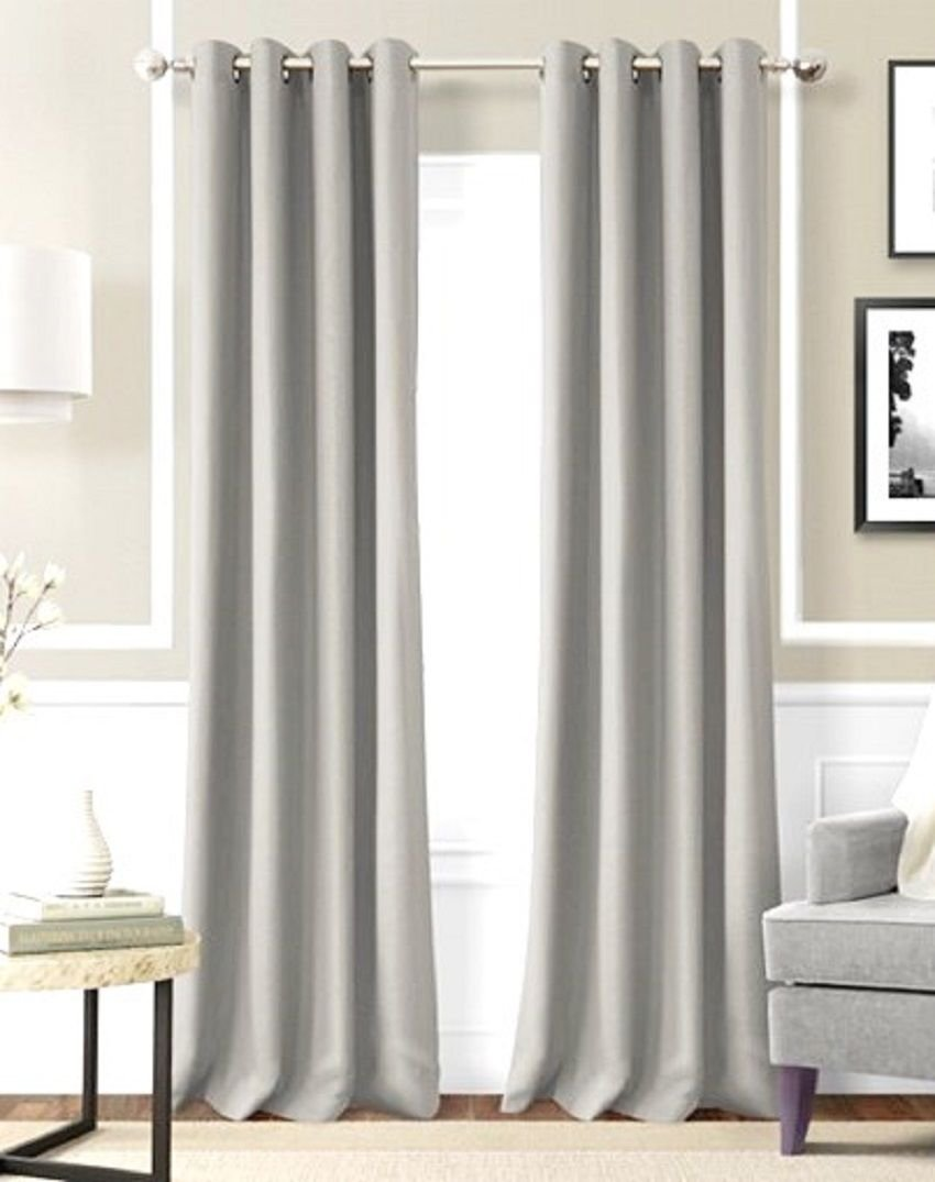 Silver Solid Window Treatment Curtain Drapes