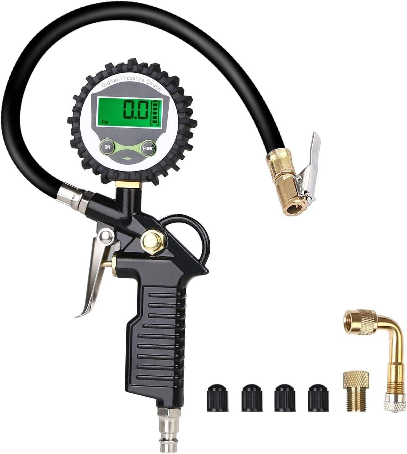 URAQT Manometro Presion Neumaticos, Manómetro Digital con Pantalla LCD, Manómetro de Neumáticos, Medidor de Presión de Neumáticos con Manguera y Acoplador para Motocicleta, Bcicleta y Coche