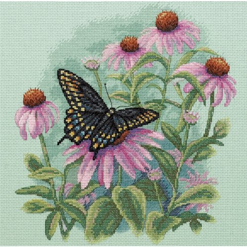 - Dimensions 'Butterfly and Daisies' Counted Cross Stitch Kit, 14 Count Light Green Aida, 11