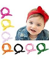 Bestjybt 8 PCS Baby Girls Toddler Bow Headbands Turban Knot Rabbit Hairband Headwear