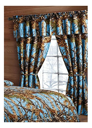 5 PIECE SET POWDER BLUE CAMO CURTAINS! WOODS CAMOUFLAGE WINDOW DRAPERY