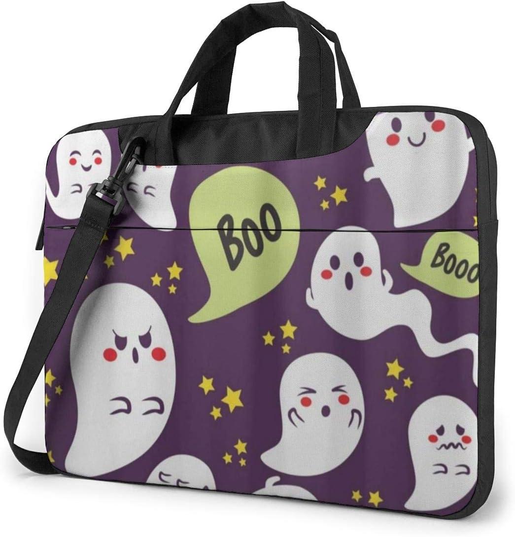 Cute Halloween Ghost Boo Laptop Bag Case Sleeve Briefcase Computer Organizer for Women Men 15.6